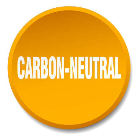 co2 neutral: carbon-neutral orange round flat isolated push button