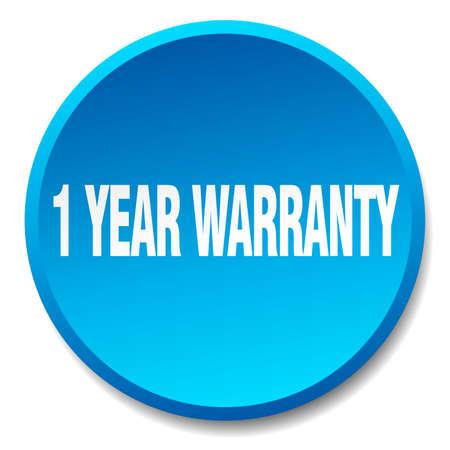 1 year warranty: 1 year warranty blue round flat isolated push button