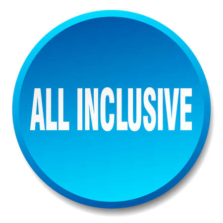 inclusive: all inclusive blue round flat isolated push button
