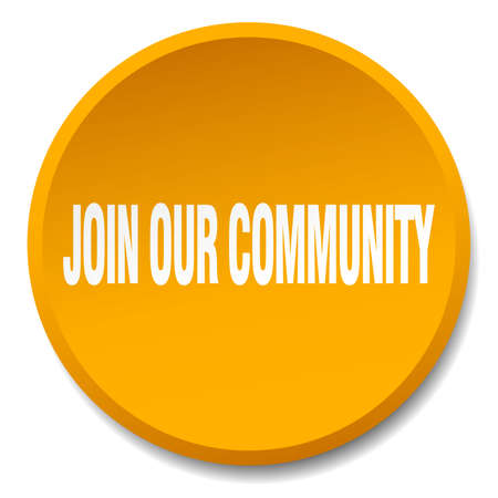 our: join our community orange round flat isolated push button