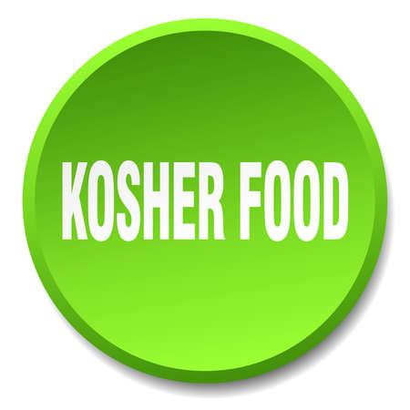 kosher: kosher food green round flat isolated push button