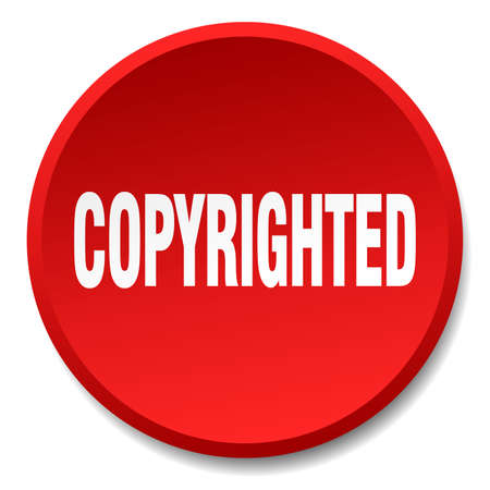 copyrighted: copyrighted red round flat isolated push button