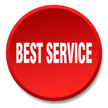 best service: best service red round flat isolated push button Illustration