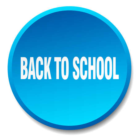 round back: back to school blue round flat isolated push button Illustration