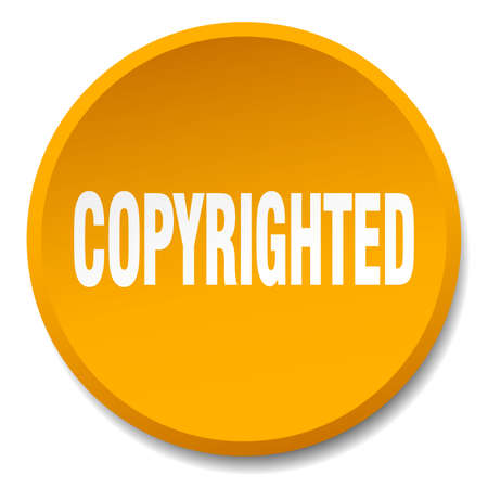 copyrighted: copyrighted orange round flat isolated push button