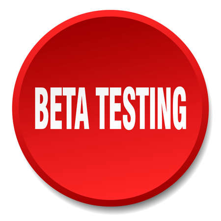 beta: beta testing red round flat isolated push button