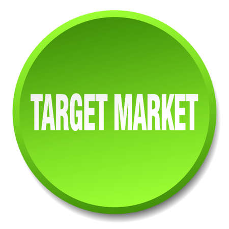 target market: target market green round flat isolated push button Illustration
