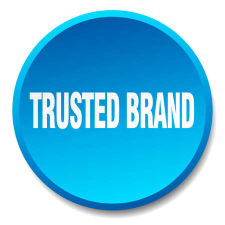 trusted: trusted brand blue round flat isolated push button