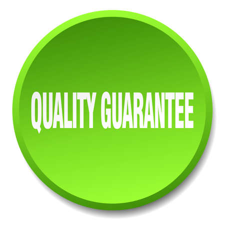 quality guarantee: quality guarantee green round flat isolated push button Illustration
