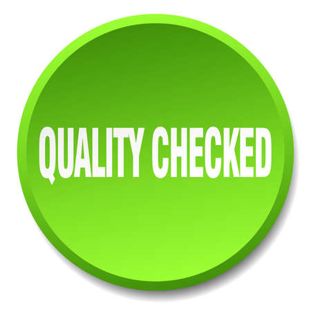 checked: quality checked green round flat isolated push button