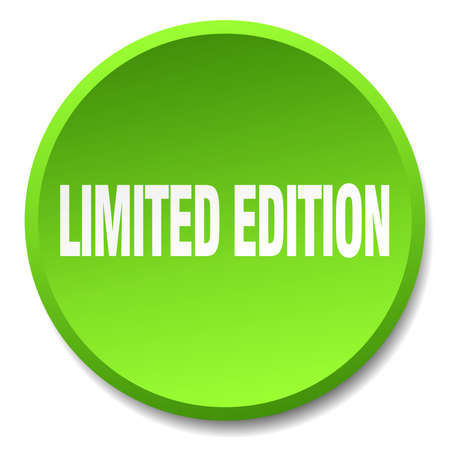 limited edition: limited edition green round flat isolated push button