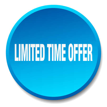 limited time: limited time offer blue round flat isolated push button