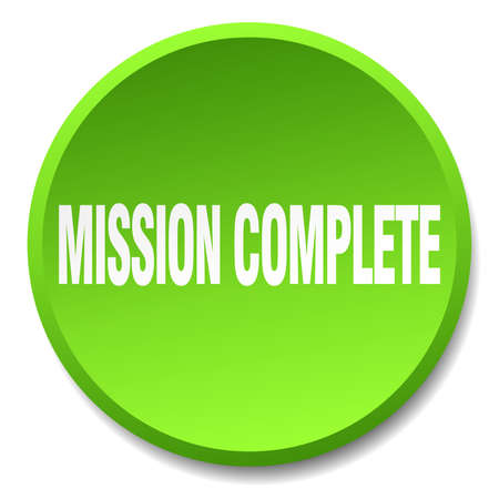 accomplish: mission complete green round flat isolated push button Illustration