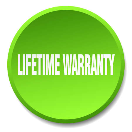 lifetime: lifetime warranty green round flat isolated push button