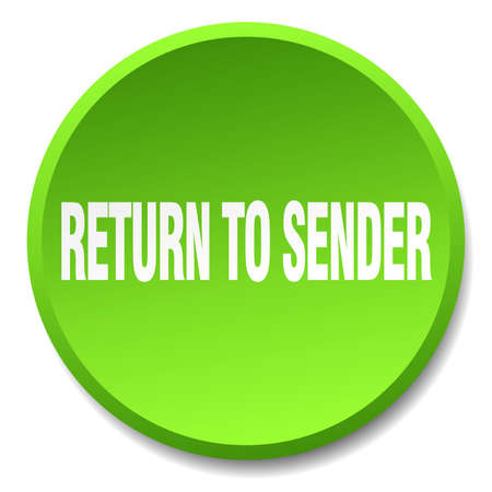 sender: return to sender green round flat isolated push button Illustration