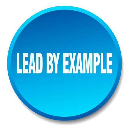 example: lead by example blue round flat isolated push button Illustration