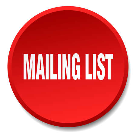 mailing: mailing list red round flat isolated push button