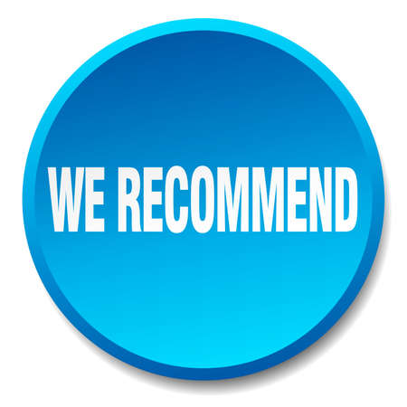 recommend: we recommend blue round flat isolated push button Illustration