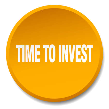 invest: time to invest orange round flat isolated push button Illustration