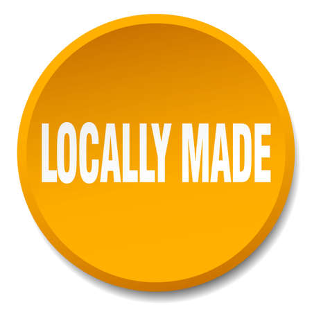 locally: locally made orange round flat isolated push button