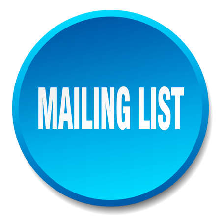 mailing: mailing list blue round flat isolated push button
