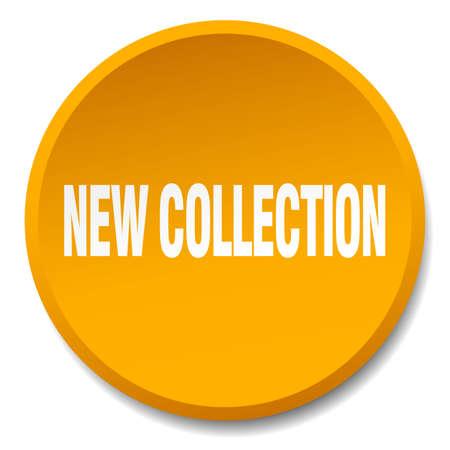 nueva colección de color naranja, plano y redondo aislado botón pulsador