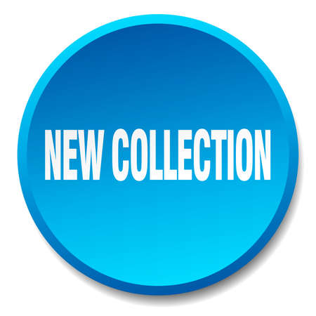 new collection: new collection blue round flat isolated push button