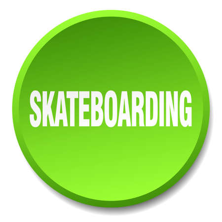 try: skateboarding green round flat isolated push button
