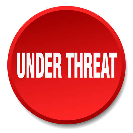 threat: under threat red round flat isolated push button
