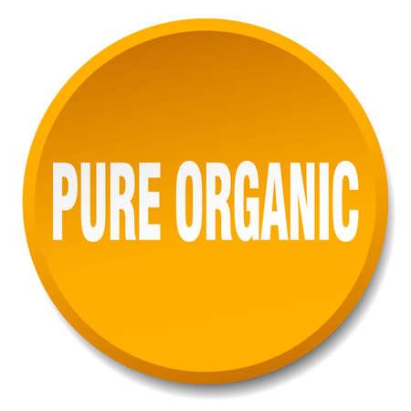 pure: pure organic orange round flat isolated push button