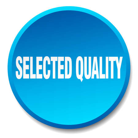 selected: selected quality blue round flat isolated push button