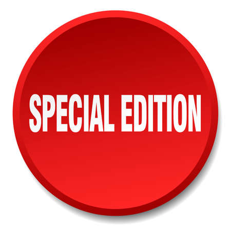 special edition: special edition red round flat isolated push button Illustration