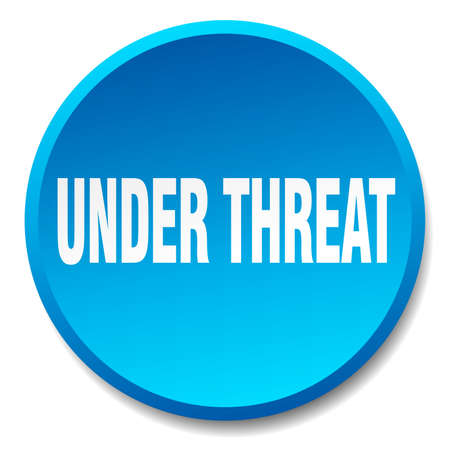 threat: under threat blue round flat isolated push button