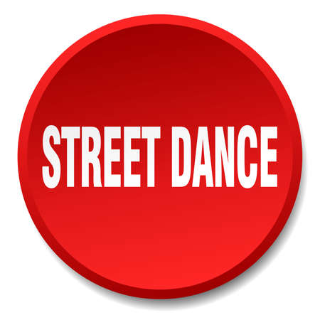 street dance: street dance red round flat isolated push button