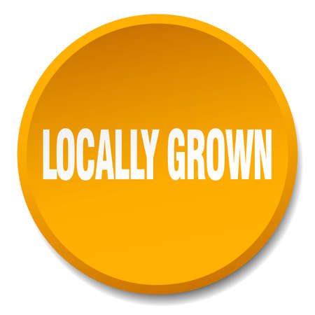 locally: locally grown orange round flat isolated push button