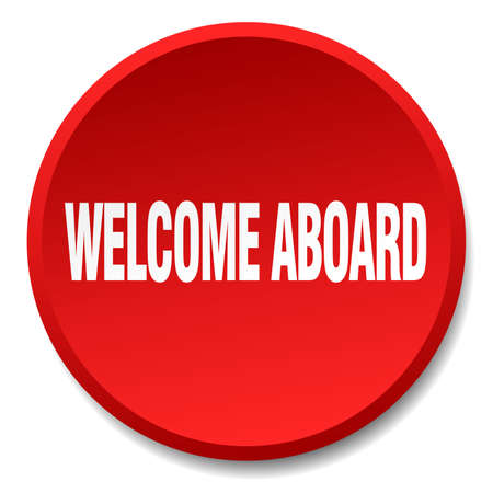 aboard: welcome aboard red round flat isolated push button