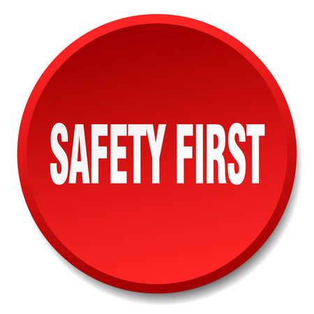 safety first: safety first red round flat isolated push button