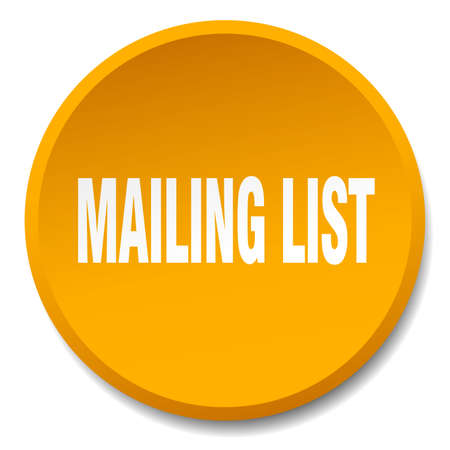 mailing: mailing list orange round flat isolated push button