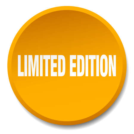 limited edition: limited edition orange round flat isolated push button