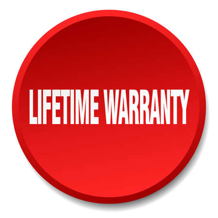 lifetime: lifetime warranty red round flat isolated push button