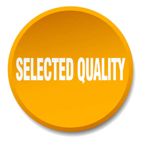 selected: selected quality orange round flat isolated push button Illustration
