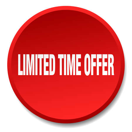 limited time: limited time offer red round flat isolated push button Illustration