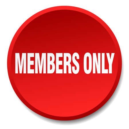 members only: members only red round flat isolated push button Illustration