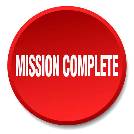 accomplish: mission complete red round flat isolated push button Illustration
