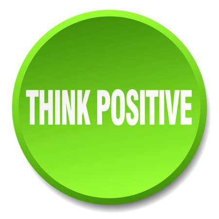 think positive: think positive green round flat isolated push button
