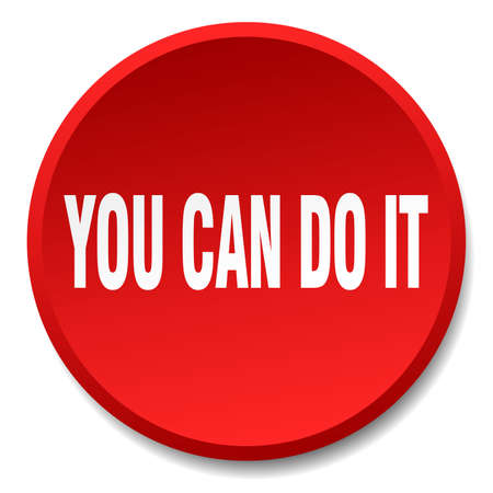 you can do it: you can do it red round flat isolated push button