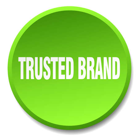 trusted: trusted brand green round flat isolated push button