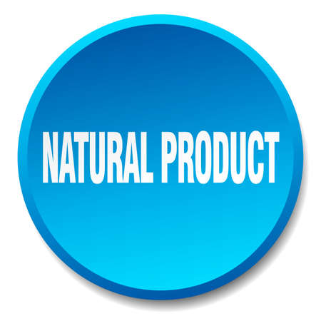 natural product: natural product blue round flat isolated push button Illustration
