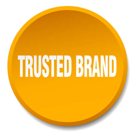 trusted: trusted brand orange round flat isolated push button Illustration