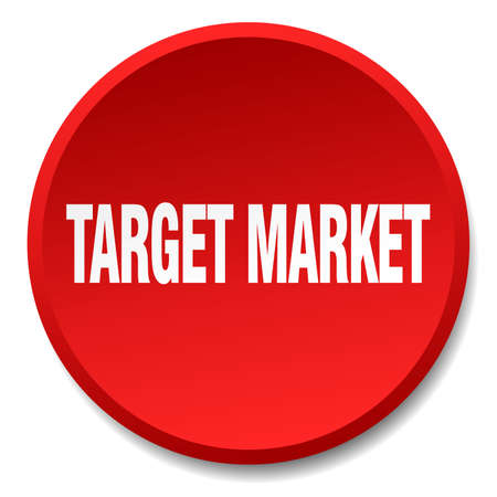 target market: target market red round flat isolated push button Illustration